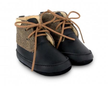 LIMA | Black Leather + Black Herringbone Tweed